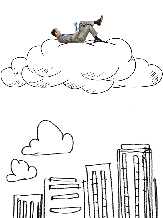 Man floating in a drawing of a cloud