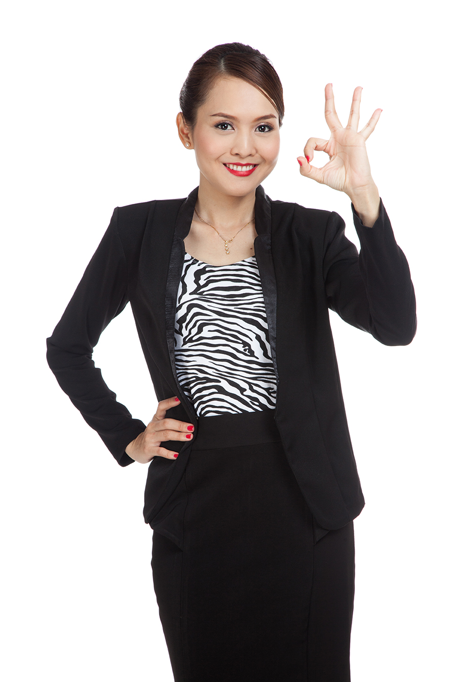 Young Asian business woman show OK sign