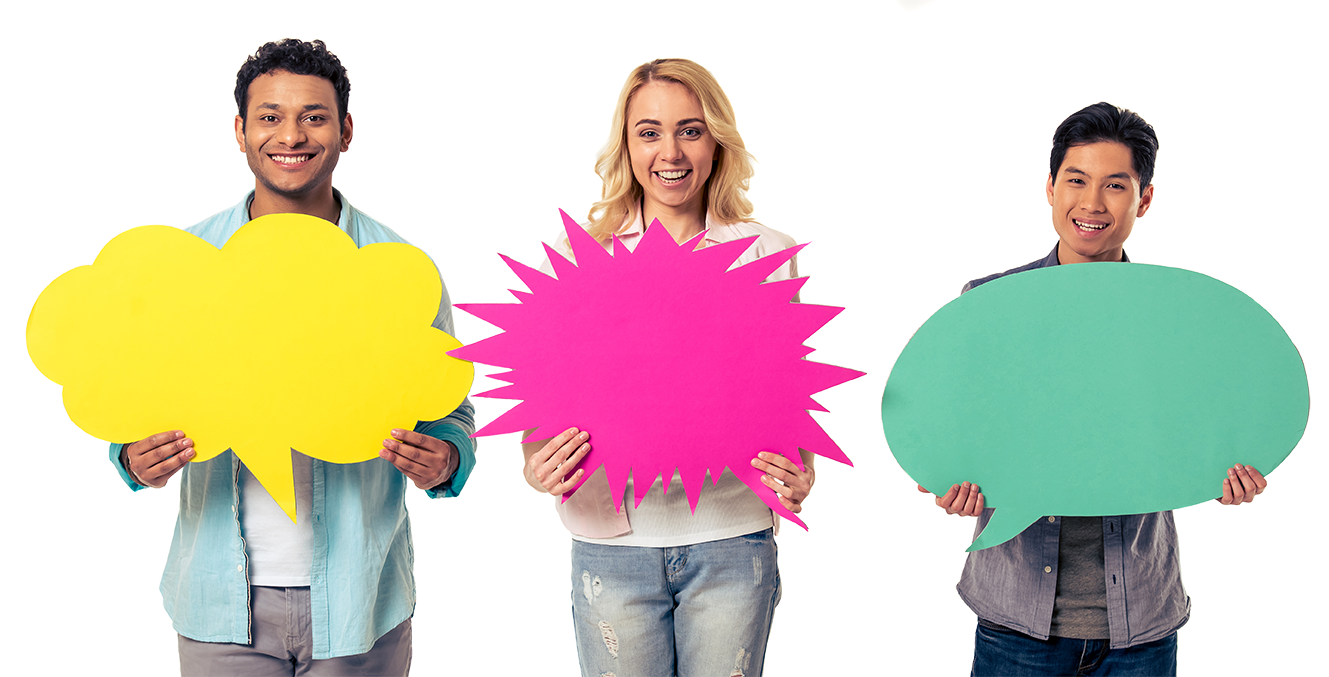Group of young people holding chat bubbles